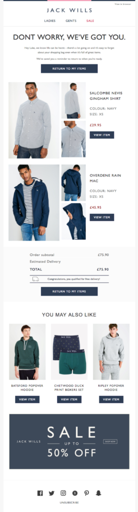 Jack Wills automated email for eCommerce responding to an abandoned cart