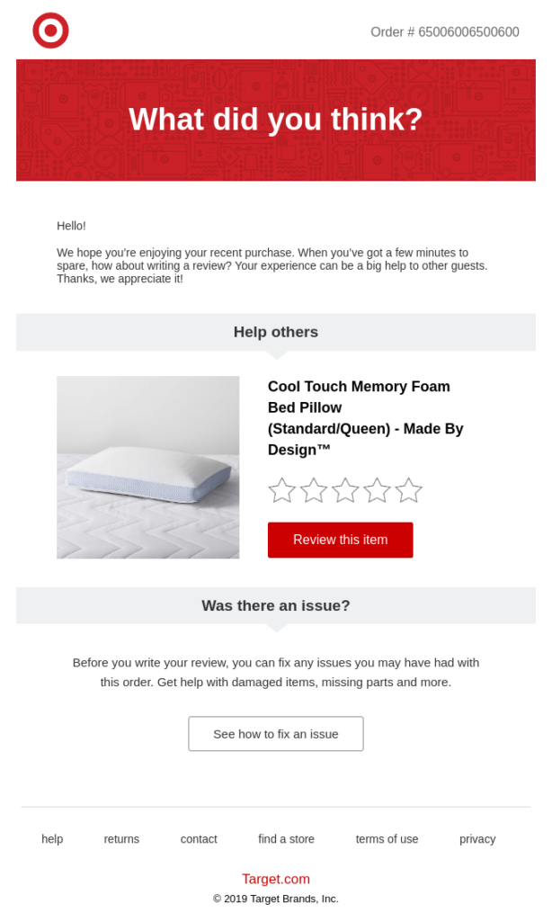 Target's automated email for eCommerce soliciting customer feedback