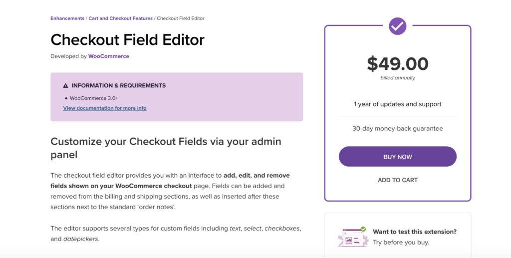 Checkout Field Editor WooCommerce extension