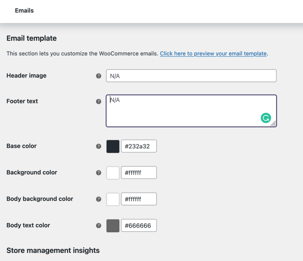 Transactional email template settings for WooCommerce.